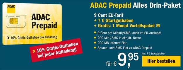 ADAC 9-Cent-Tarif mit Vorteilspaket M