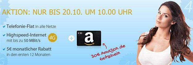 DeutschlandSIM LTE-Tarife mit 30 € Amazon-Gutschein