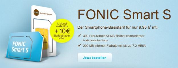 Fonic Smart S 1 Monat kostenlos + 10 €