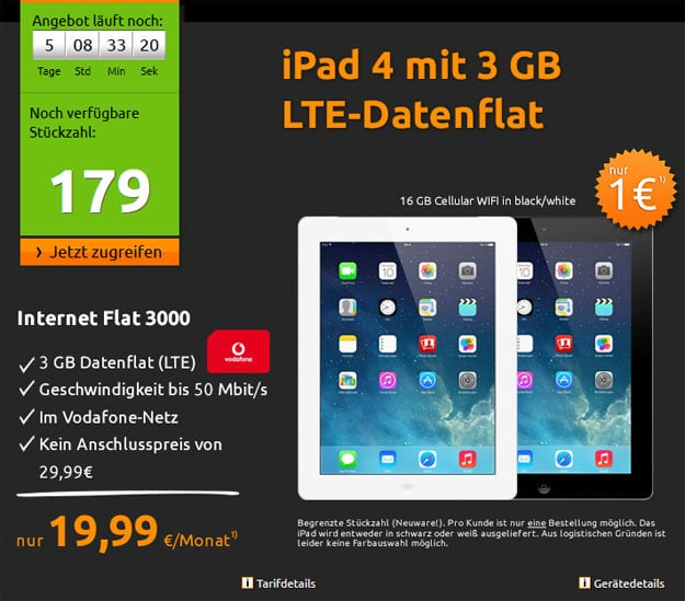 iPad 4 + 3-GB-Datenflat