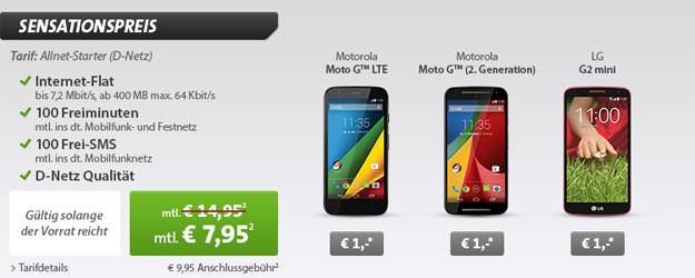 Klarmobil Allnet-Starter für 7,95 € + Motorola Moto G u.a.
