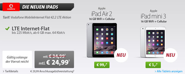 6-GB-LTE-Flat mit iPad Air 2 und iPad Mini 3