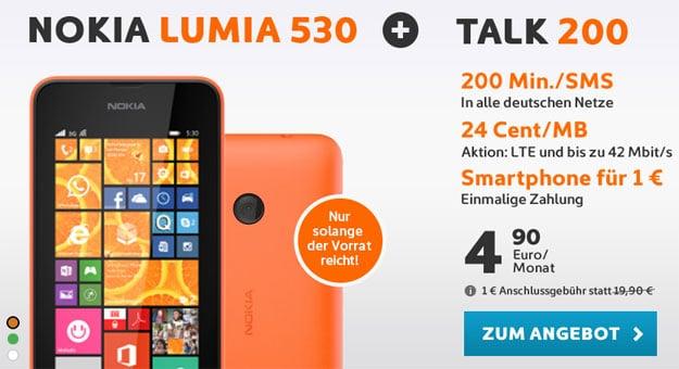 Nokia Lumia 530 mit Talk 200