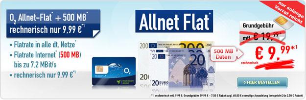 o2 Talk Allnet Flat für 9,99 € mtl.
