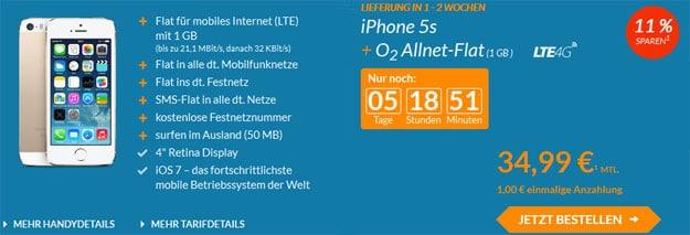 o2 Allnetflat mit 1 GB LTE-Flat + iPhone 5s