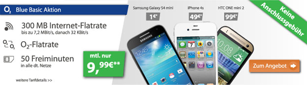 o2 Blue Basic mit LG G3, Samsung Galaxy S4 Mini u.a.