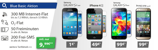 o2 Blue Basic mit Samsung Galaxy S4 Mini, S5 Mini u.a.