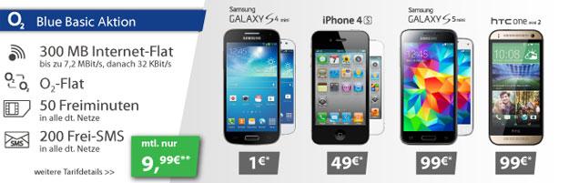 o2 Blue Basic mit Samsung Galaxy S4 Mini, S5 Mini u.a.