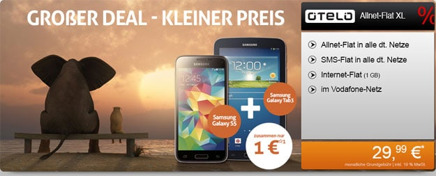Otelo Allnet-Flat XL + Samsung Galaxy S5 & Tab 3 (7.0) Lite