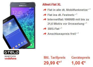 Otelo Allnet-Flat XL mit Samsung Galaxy Alpha + Tab 3 (7.0) Lite