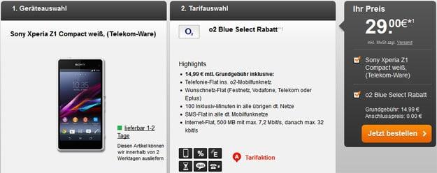 Sony Xperia Z1 Compact zum o2 Blue Select