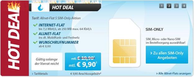 Sparhandy Allnet-Flat ab 9,90 € im Monat