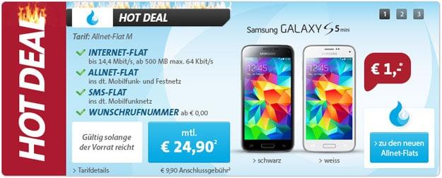 Sparhandy Allnet-Flat M mit Samsung Galaxy S5 Mini
