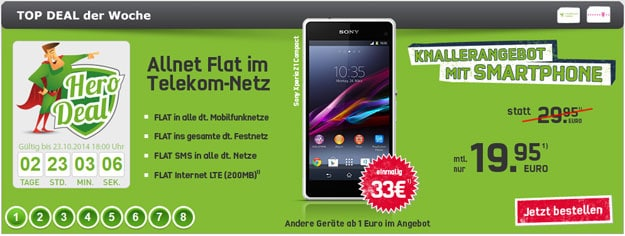 Telekom Special Allnet mit Sony Xperia Z1 Compact u.a.