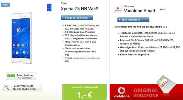 Vodafone Smart L mit Sony Xperia Z3 u.a.