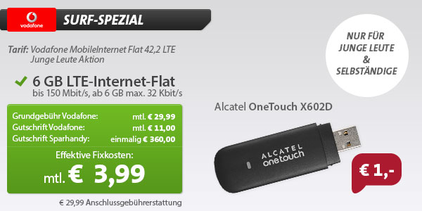 6 GB LTE-Datenflat für 3,99 € im Monat