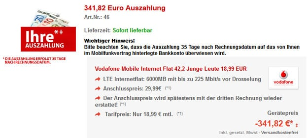 6GB LTE-Flat mit 341 € Auszahlung + Surfstick X300