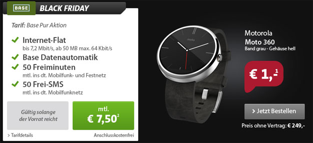 Black Friady Motorola Moto 360 mit BASE pur
