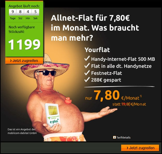 Crash E-Plus Allnet-Flat für 7,80 €