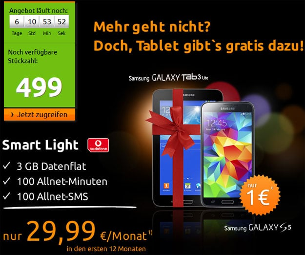 Crashtarife: Vodafone Smart Light mit Samsung Galaxy S5 und Tab 3 (7.0) Lite