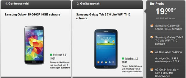 o2 Blue All-in S mit o2 go + Samsung Galaxy S5 & Tab 3 (7.0) Lite