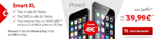 iPhone 6 Plus mit Vodafone Smart XL