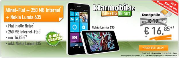 Klarmobil Allnet-Flat mit Nokia Lumia 635