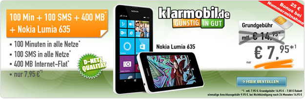 Klarmobil Allnet Starter mit Nokia Lumia 635