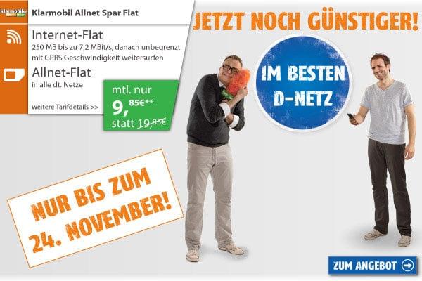 Klarmobil Sparflat für 9,85 € monatlich