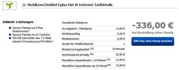 md E-Plus Flat M Internet für 1,99 € monatlich