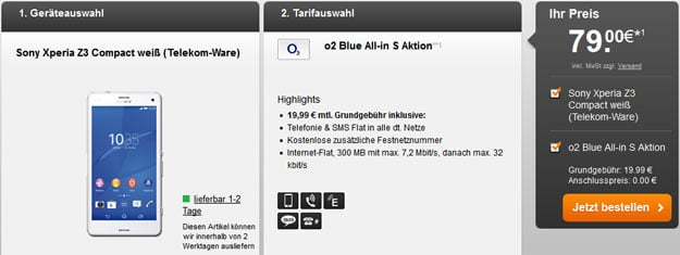 o2 Blue All-in S mit Sony Xperia Z3 Compact