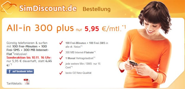 SimDiscount All-in 300 für 5,95 € mtl.