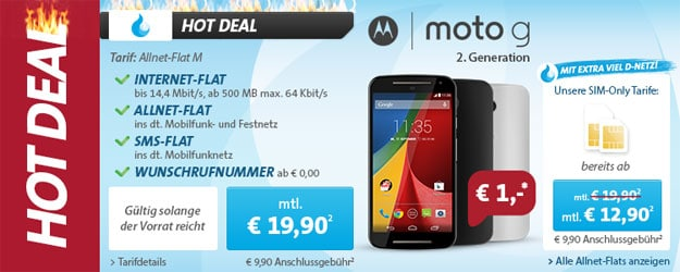 Sparhandy Allnet-Flat M mit Motorola Moto G