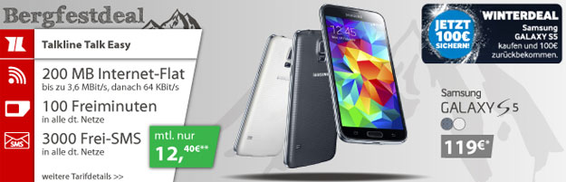 Talk Easy 100 mit Galaxy S5 im Winterdeal