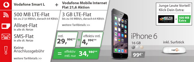 Vodafone Smart L mit 3 GB LTE-Flat + iPhone 6