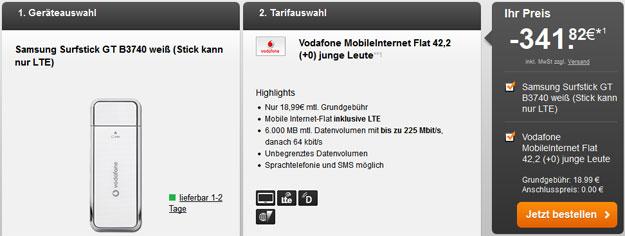 Vodafone 6GB-LTE-Flat mit 341 € Auszahlung