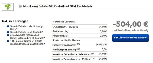 Vodafone Real Allnet mit 504 € Auszahlung