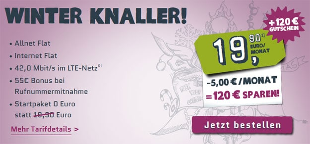 Yourfone Winterknaller mit 120 € Amazon-Gutschein