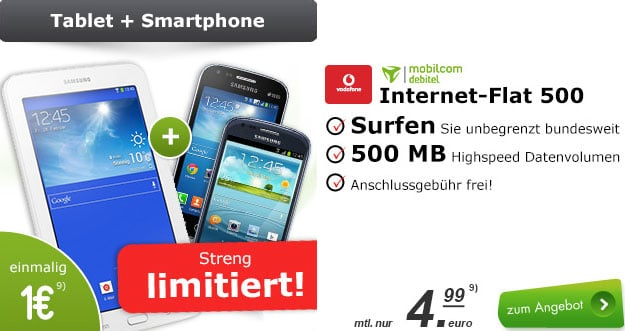 Samsung Galaxy S3 Mini + Tab 3 Datentarif
