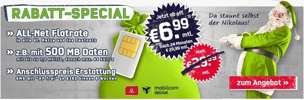 Allnetflat Vodafone für 6,99 € im Monat