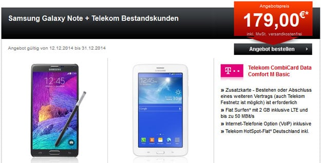 Data Comfort M mit Samsung Galaxy Note 4