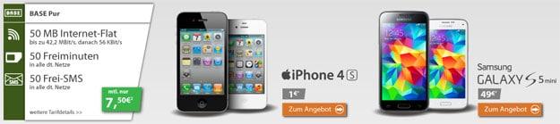 iPhone 4S und Galaxy S5 Mini mit Schubladenvertrag