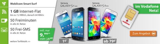 mobilcom Smart Surf Vodafone mit Samsung Galaxy S5 Mini