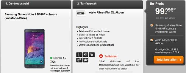 Otelo Allnet-Flat XL mit Samsung Galaxy Note 4