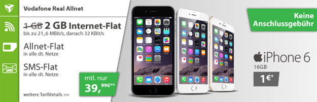 Real Allnet (md) mit 2 GB Datenvolumen + iPhone 6