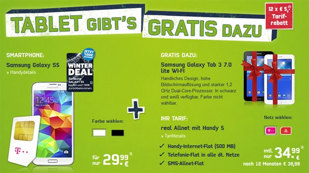 Real Allnet mit Samsung Galaxy S5 + Tab 3 (7.0) Lite