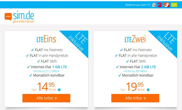 Sim.de LTE Eins für 14,95 € mtl.