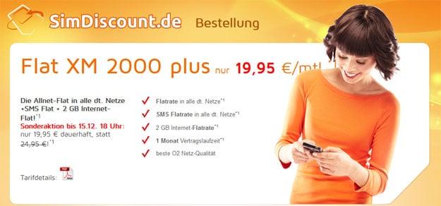 SimDiscount Flat XM 2000 plus für 19,95 € im Monat