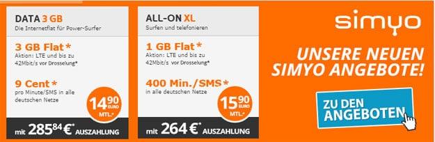 Simyo All-on XL und Data mit Auszahlung