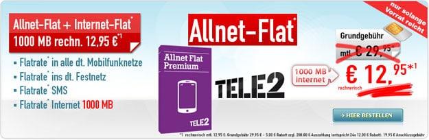 Tele2 Allnet-Flat für 12,95 €